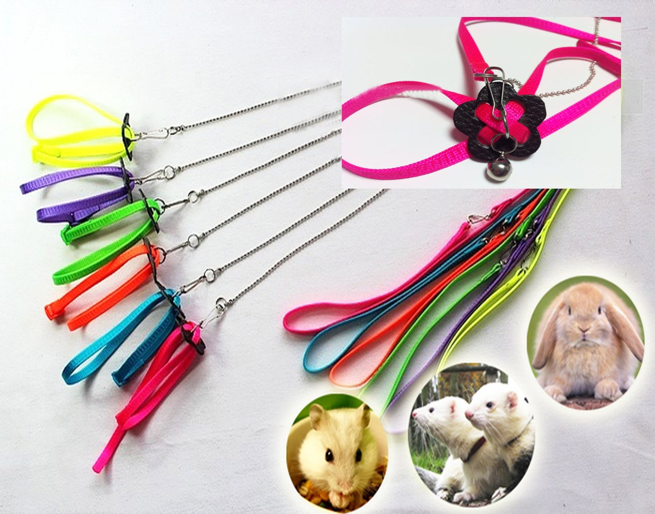 Harness for Ferret Baby Rabbit Hamster Rat Mouse Leash Lead with bell Purple