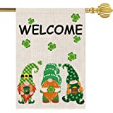 Mocossmy St. Patrick's Day Garden Flag - Welcome Gnome Leprechaun Shamrock Garden Flag Double Sided,Yard Outdoor Decoration B