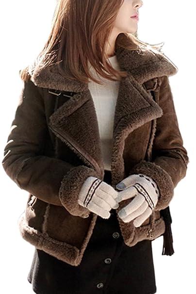 La Mujer Elegante Collar Oversize Con Cremallera Chaqueta De Ante Outcoat Furry: Amazon.es: Ropa y accesorios