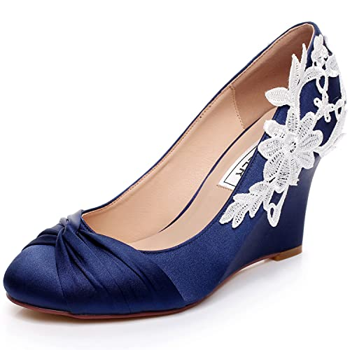 Luxveer Dark Blue Wedding Shoes Wedges With White Lace Flowers Bridal Shoes Evening Shoes Women Shoes Medium Heels 3 5 Inch