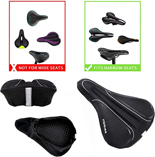 LARNOR 3D Silicone Gel Pad Seat Saddle Cover Soft Comfortable Padded Bicycle Saddle Cushion for Both Men and Women