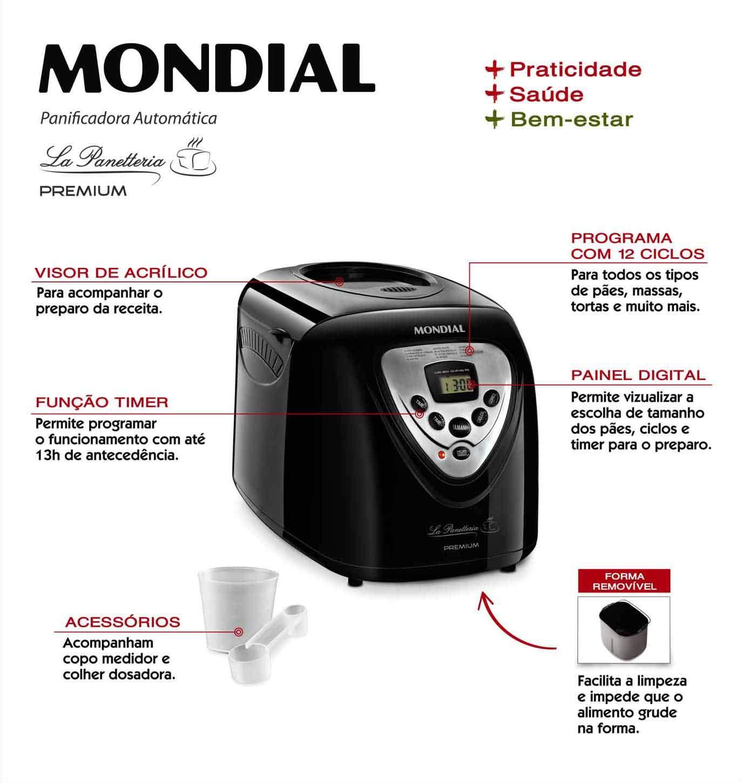 Mondial PANIFICADORA NPF51 LA PANETTERIA Premium 450/600/900 ...