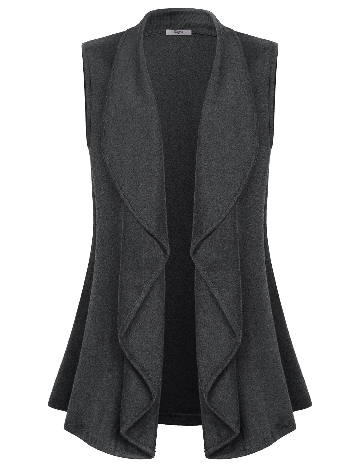 Cestyle Summer Vest for Women, Female Elegant Shawl Collar Hi Low Slimming Sleeveless Cardigans Girls Comfy Soft Office Wear with Stretchy Charcoal XX-Large