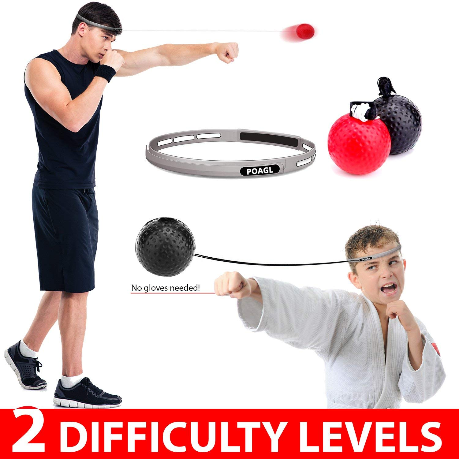 EVERMARKET Fight Ball Hand Eye Coordination Boxing Training Equipment Two Level Punching Reflex Balls Silicone Sport Headband for Adults Kids