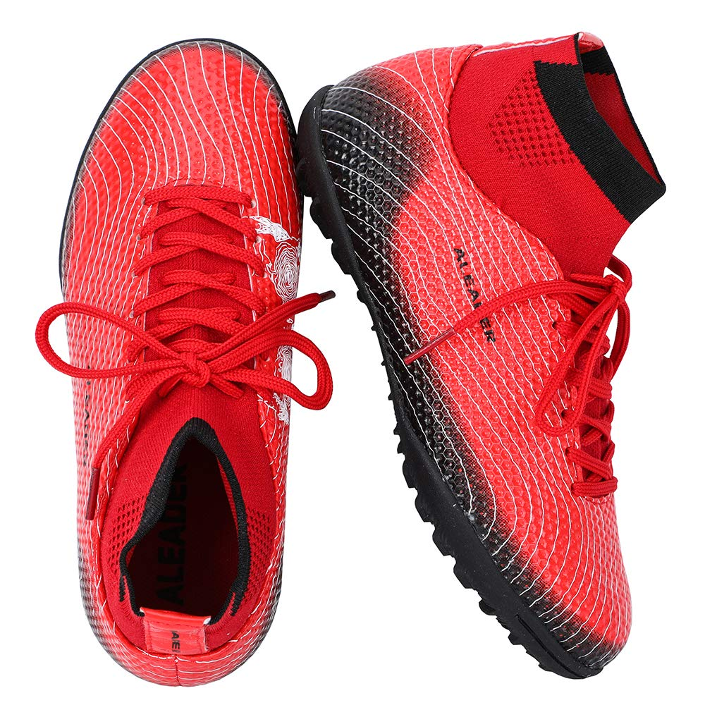 ALEADER Youth/Kids Indoor Football Shoes Boots for Artificial Ground Training Soccer Trainers Red/Black 1 M US Little Kid