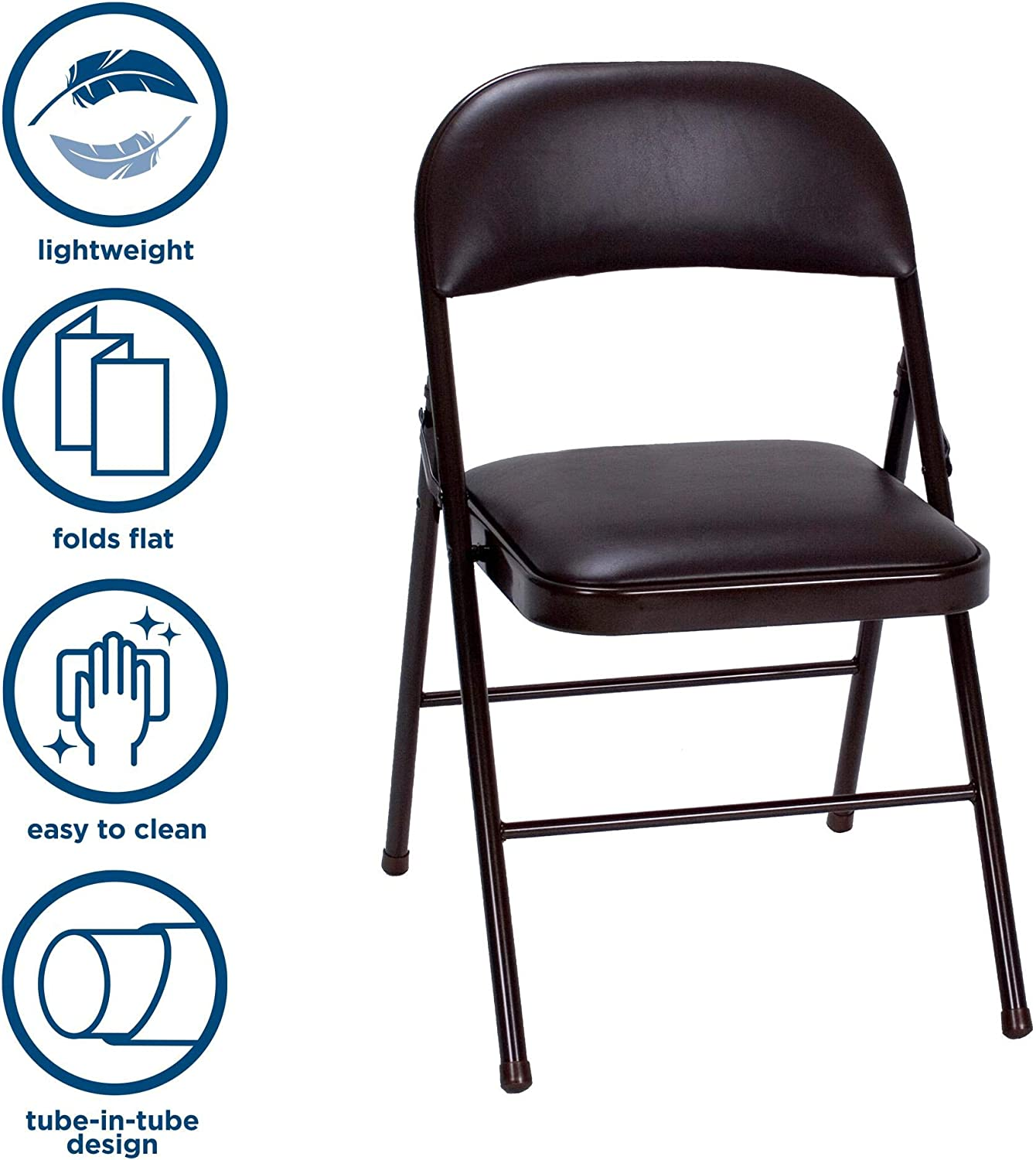 Cosco Vinyl Folding Chair Black (4-pack): Furniture & Decor