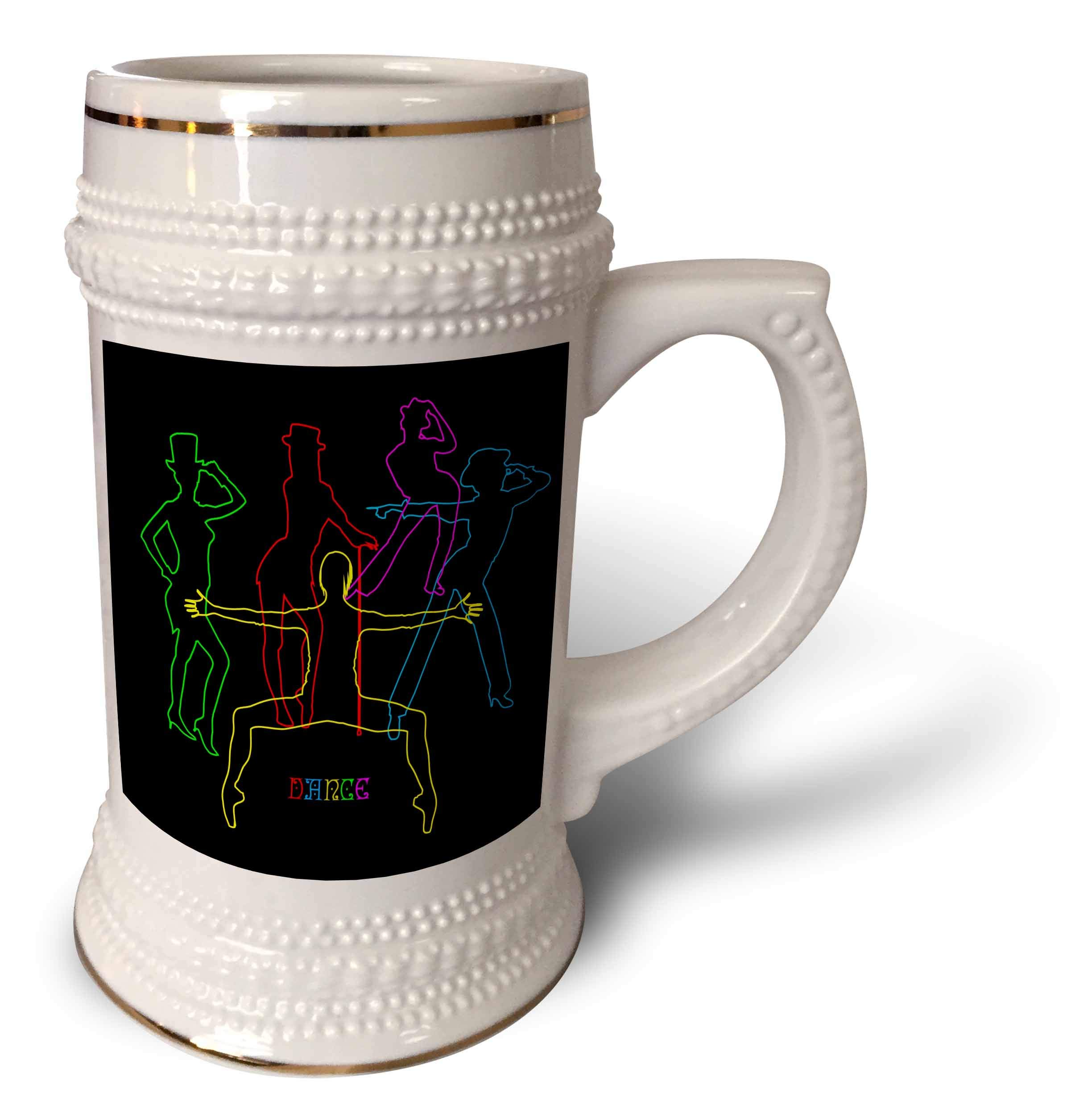 3dRose Alexis Design - Dance - Colorful silhouettes of female jazz dancers on black. Positive decor - 22oz Stein Mug (stn_295054_1)