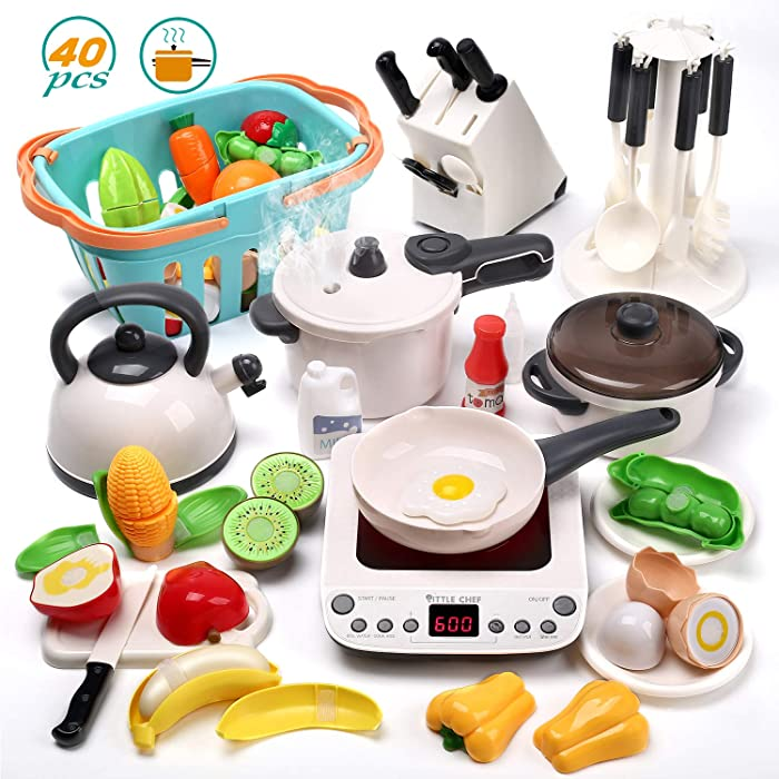CUTE STONE 40PCS Kitchen Play Toy with Cookware Playset Spray Pressure Pot and Electronic Induction Cooktop,Cooking Utensils,Toy Cutlery,Cut Play Food,Shopping Basket Learning Gift for Girls Boys Kids