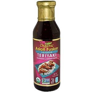 Organic Asian Fusion Sesame Teriyaki Sauce - USDA Organic, Non GMO Project Verified, Gluten Free, Kosher Parve, Made in USA, 15 Oz. (1 Pack)