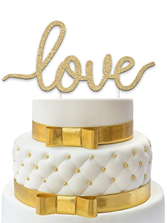 Love Wedding Cake Topper Premium Gold Glitter Best Cake