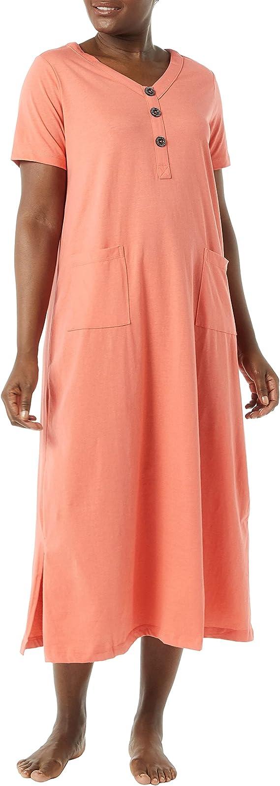Dreamscape Maternity Lounge Dress Full length Sleep Shirt with pockets Soft Jersey Organic Cotton Nursing Dress House Dress
