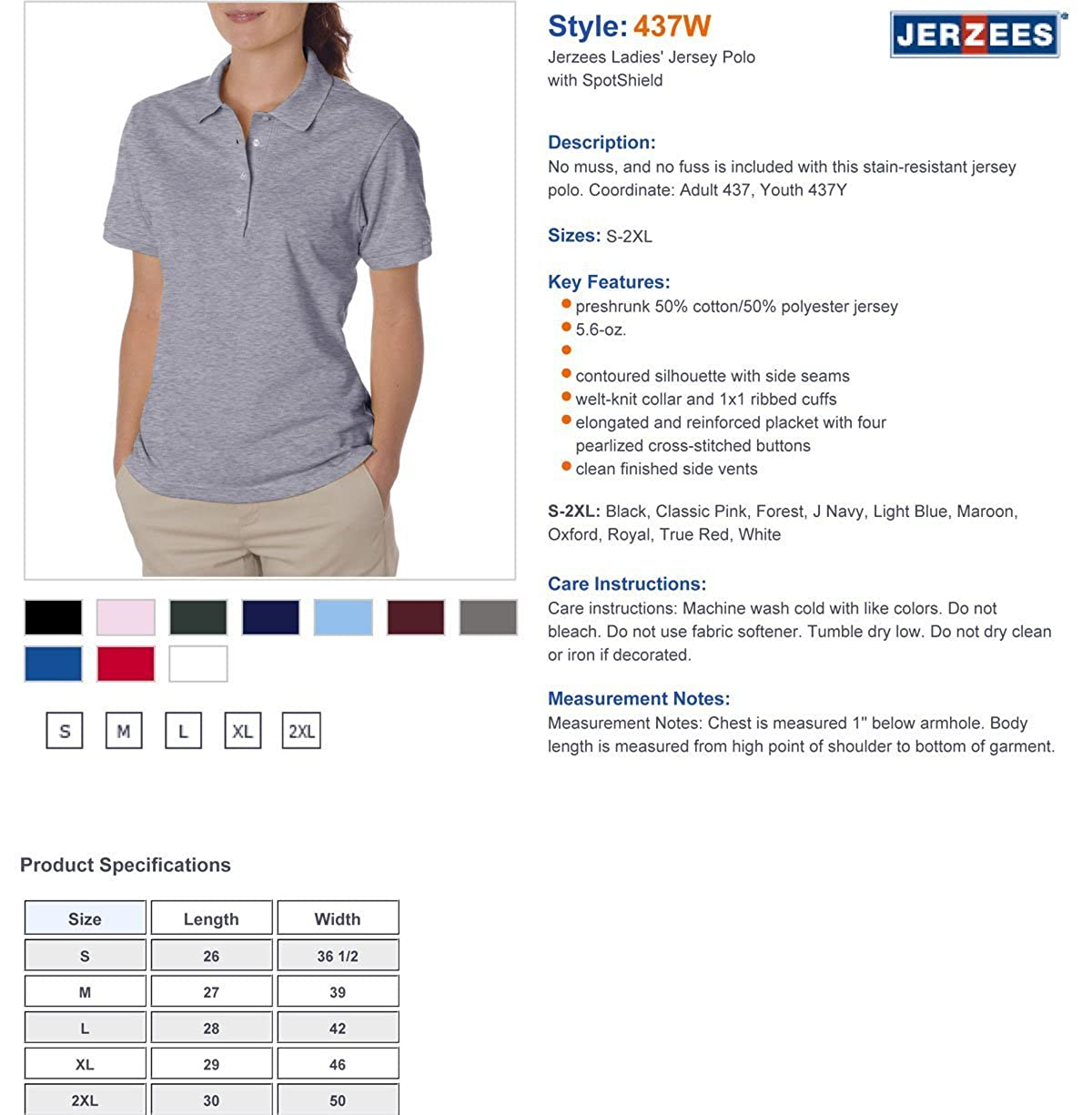 7ab8a562 Jerzees Ladies' 5.6 oz, 50/50 Jersey Polo with SpotShield 437W at Amazon  Women's Clothing store: