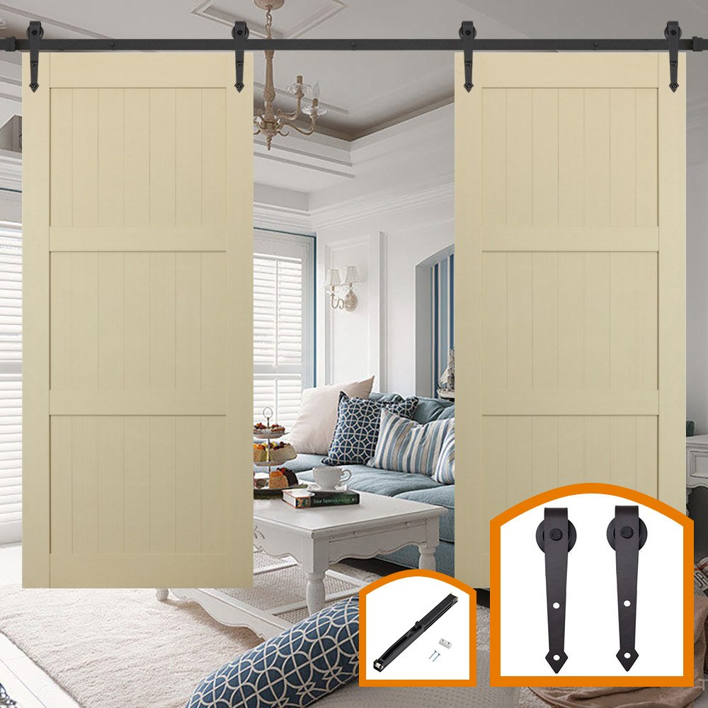 HomeDeco Hardware 18FT Sliding Wood Barn Door Hardware Kit Black Heavy Duty Interior Rolling Door Track Set for Double Doors with Classic I Shape Flat Hangers and Rail