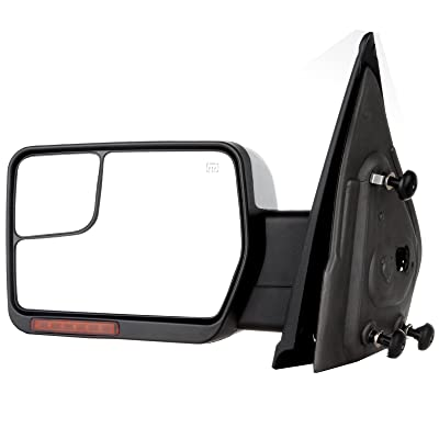 SCITOO fit Ford Towing Mirror Chrome Rear View Mirror fit 2004-2014 Ford F-150 Truck with Mirror Glass Power Control Heated Turn Signal and Puddle Lamp Features-Driver Side: Automotive