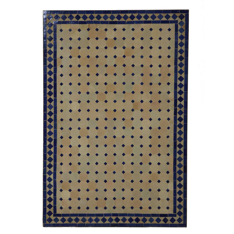 mesa de jardín mesa de mosaico 120x80 cm rectangular azul ...