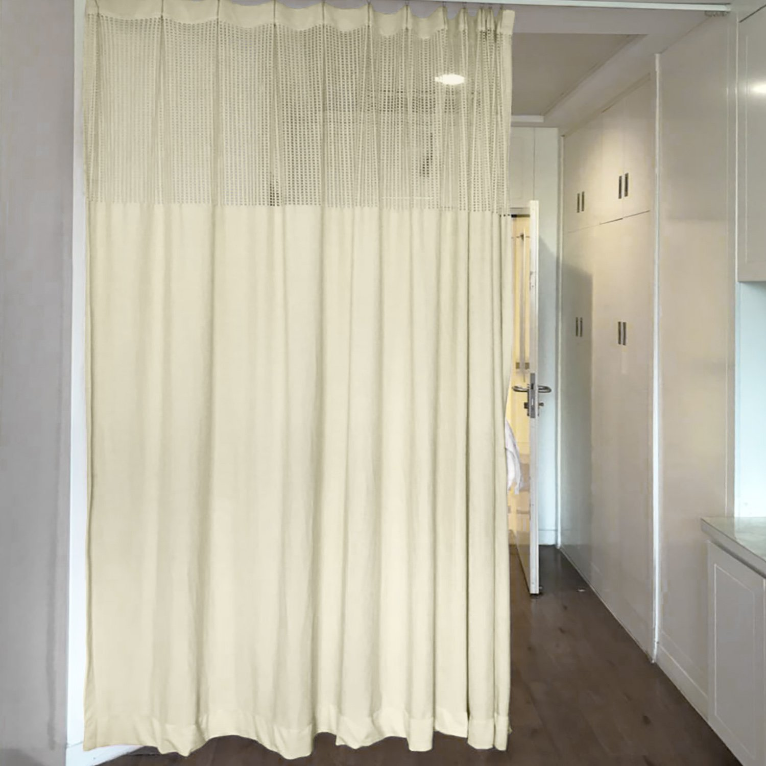 10ft Wide x 8ft Tall Pinch Pleated for Hospital Medical Clinic Spa Lab Cubicle Curtain Divider Privacy Screen, Beige Ivory, (Track Hardware Not Included)