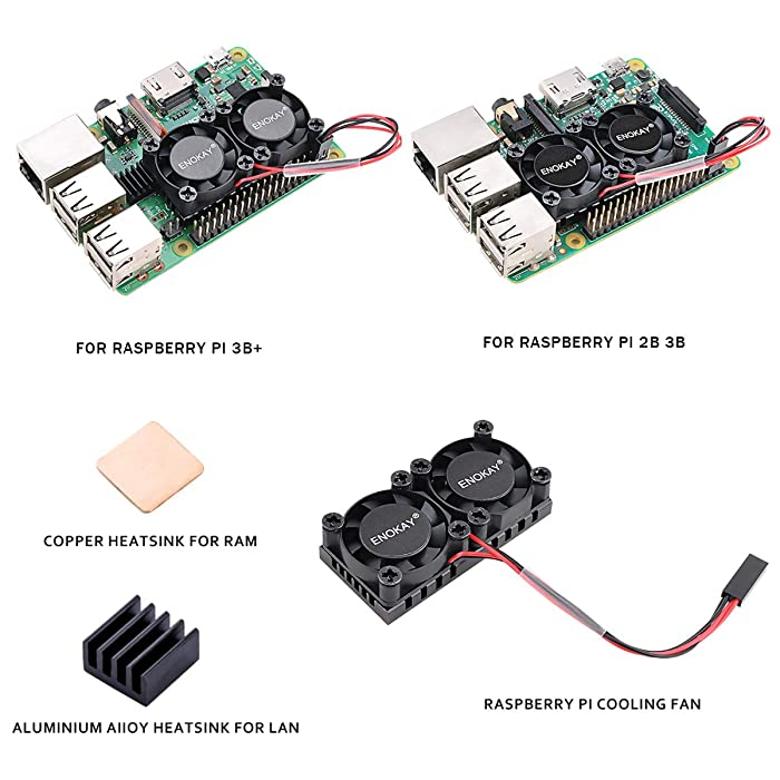 Enokay Raspberry Pi 2 3 Model B B+ Dual Fan with Raspberry Pi Heatsink for Raspberry Pi 2B 3B 3B+