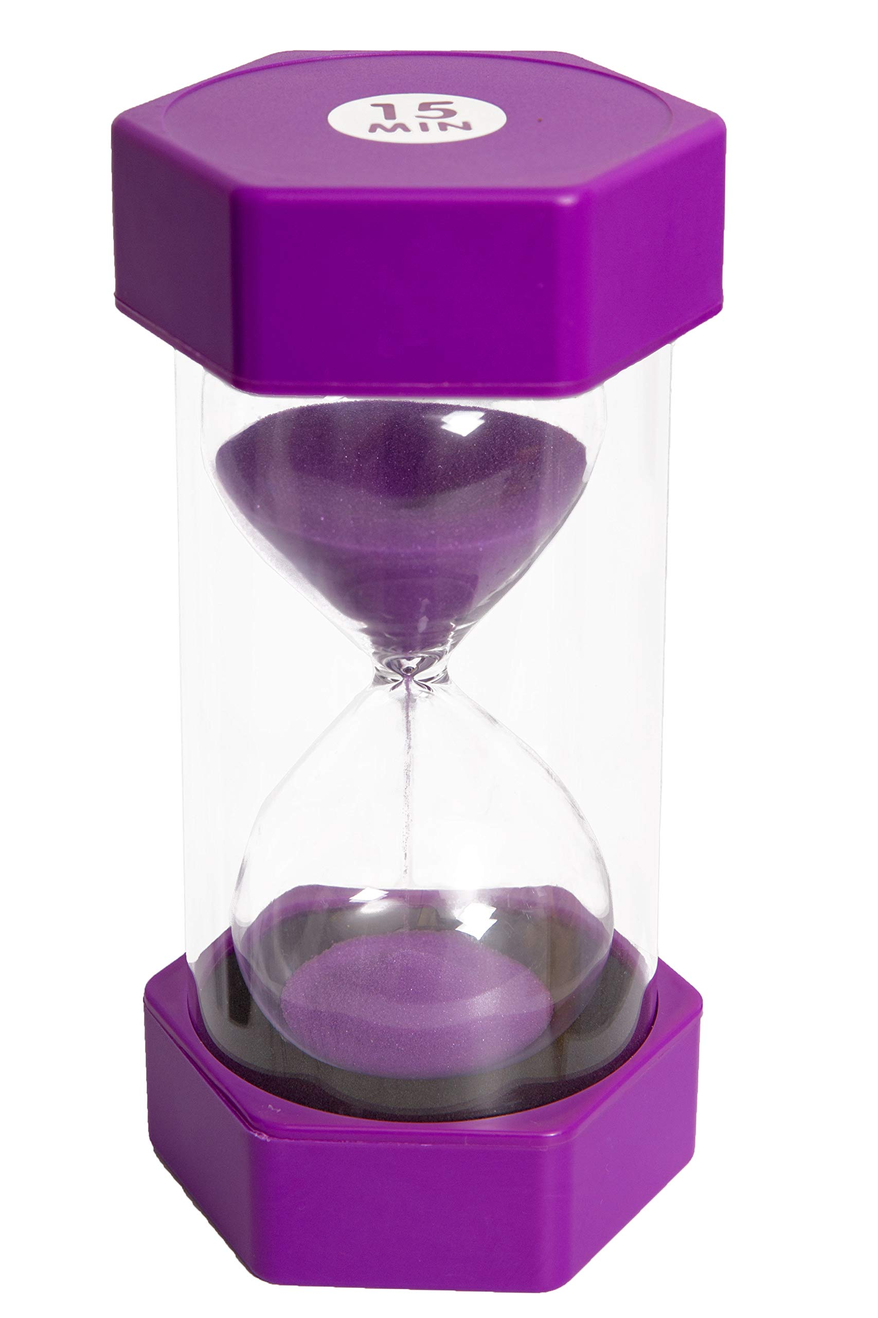 Sand timer hour glass for kids, teachers, therapists, classroom, office desk, kitchen, decoration, sensory room. 15 minute hourglass timers. Purple. Large size - by Playlearn USA