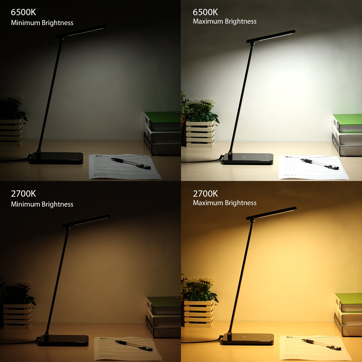 LED Desk Lamp 8W, Aglaia Eye-Caring Table Lamps with Dimmable Touch Control, Stepless Brightness Levels and Lighting Modes, Aluminum Alloy ARM, 1-Hour Auto Timer, Memory Function by Aglaia (Image #6)