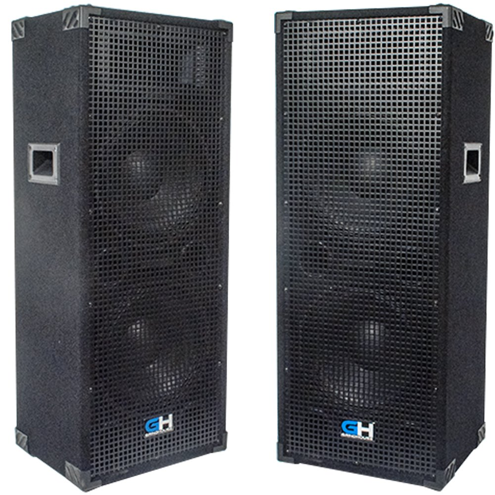 Grindhouse Speakers - GH212L-Pair - Pair of Passive Dual 12 Inch 2-Way PA/DJ Loudspeaker Cabinets  - 1250 Watt each Full Range PA/DJ Band Live Sound Speaker