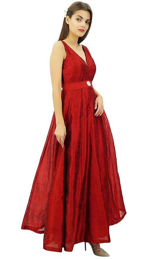 Bimba Elegante Vestido Largo Acampanado La Dama De Honor De La Boda Con Cuello En V Vestido De Gala Maxi De Las Mujeres: Amazon.es: Ropa y accesorios