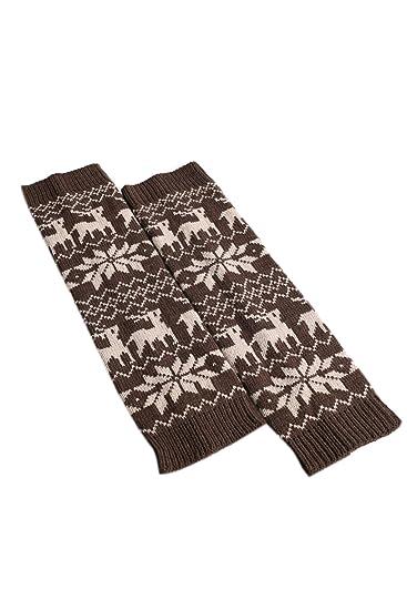 Womens Winter Warm Knitted Crochet Largo Calcetines De Navidad Bota Sin Puños Acolchados Leg Warmers 1 One Size: Amazon.es: Ropa y accesorios