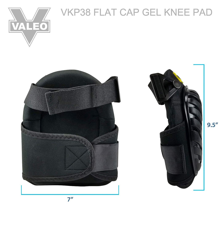 One Size Valeo Industrial VKP-38 Premium Flat Gel Pad Cap Black Hard PE Knee Pad Black VI9314
