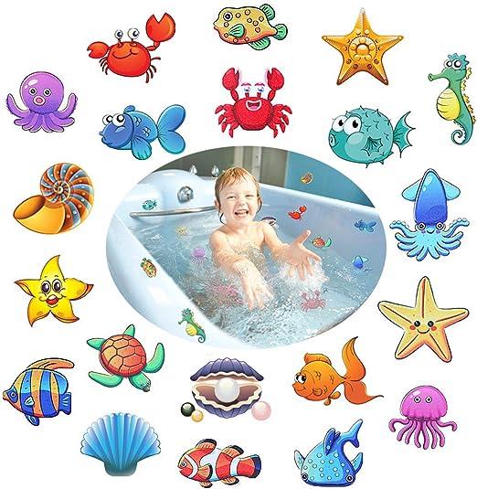 NUOBESTY 19pcs Anti-Rutsch Sticker selbstklebend Badewanne Sticker Badezimmer rutschfest Aufkleber f/ür Badewanne Baden Blumen und Meertiere Muster