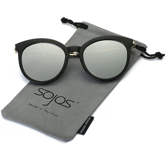 0718ff84e3 SojoS Womens Sunglasses UV Protection Round Frame Sun Glasses SJ2034 With  Black Frame Silver Lens