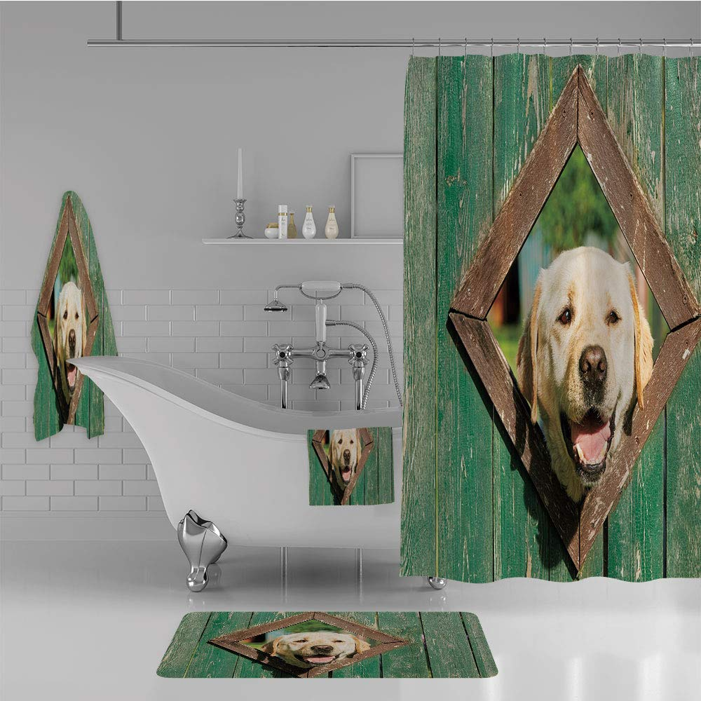 iPrint Bathroom 4 Piece Set Shower Curtain Floor mat Bath Towel 3D Print,Window in Old Rustic Wooden Fence Cheerful,Fashion Personality Customization adds Color to Your Bathroom.