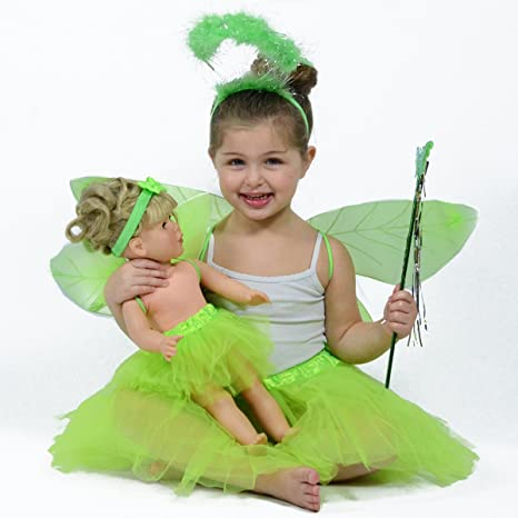 Kids Matching Pretend Play Outfit Green Fairy//Pixie Dress up Costume for Girls
