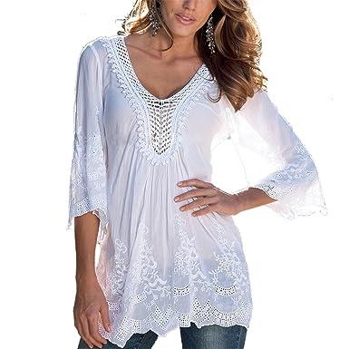 6a22728c818d Damen Bluse ININUK Sommer Tops V Ausschnitt Oberteile Tunika Spitze Elegant  Langarm Shirt Lady Bluse Komfortabel