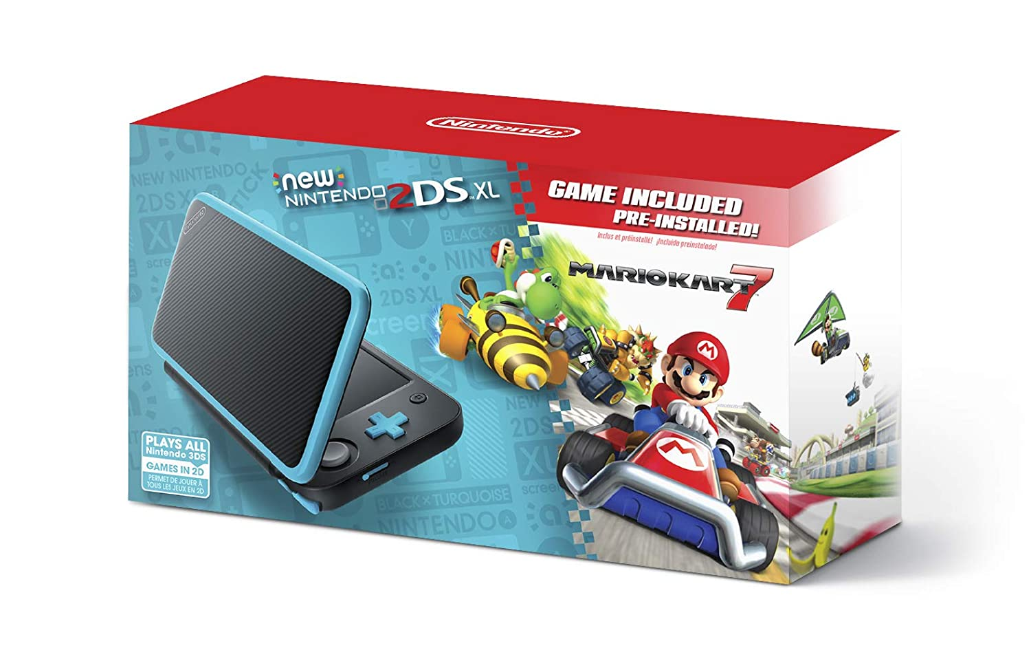 New Nintendo 2DS XL - Black + Turquoise With Mario Kart 7 Pre-installed - Nintendo 2DS: Video Games