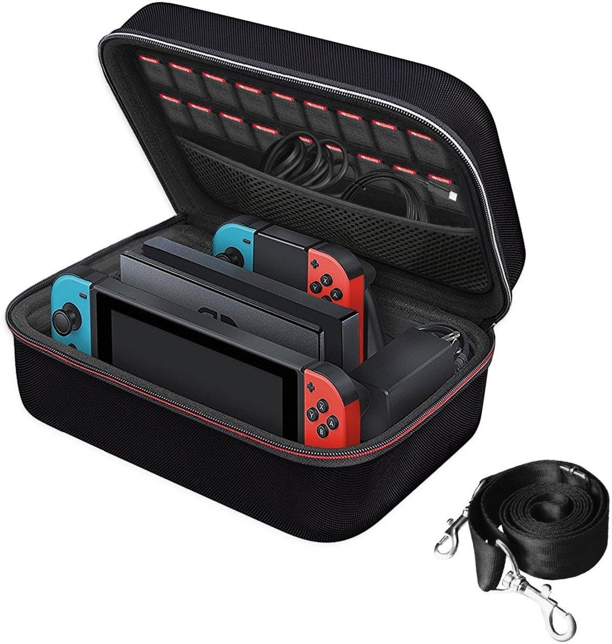 iVoler Funda para Nintendo Switch, Estuche Dura de Transporte de Lujo, Carcasa Rígida de Viaje para Consola, Adaptador AC, Joy-con Grip, Strap ...