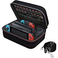 Nintendo Switch Game Traveler Deluxe and Storage Case, iVoler Portable Nintendo Switch Carrying-All Protective Hard Messenger Bag Soft Lining Pouch 18 Games for Switch Console & Accessories