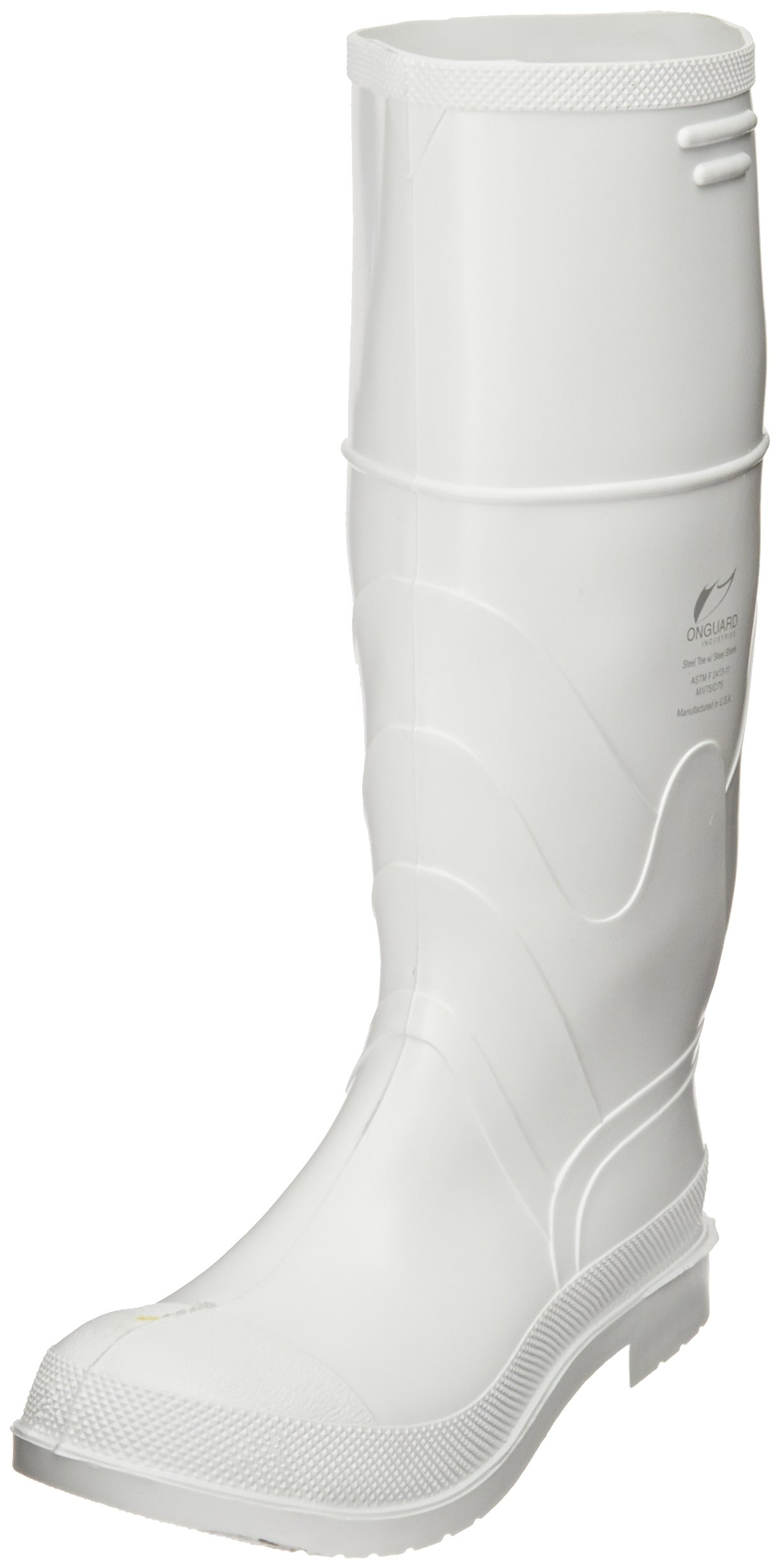 ONGUARD 81012 PVC Men's Steel Toe Knee Boots with Safety-Lok Outsole, 16'' Height, White, Size 10