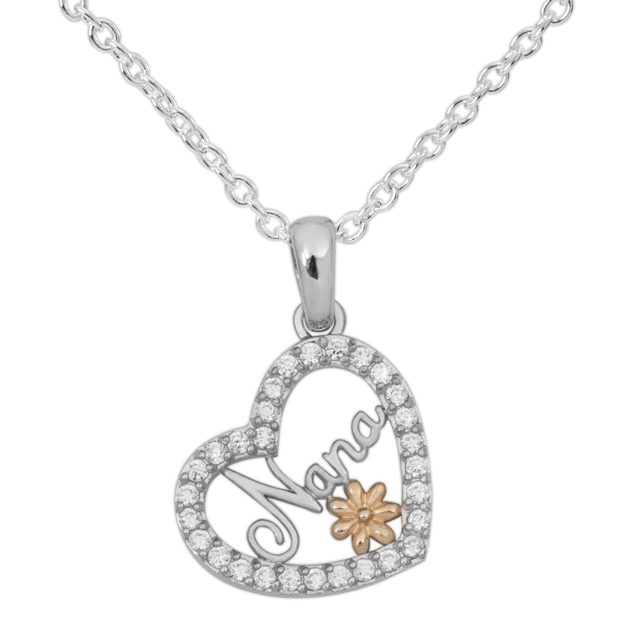 Hallmark Jewelry Women's Sterling Silver Clear Cubic Zirconia Nana Heart with Flower Pendant Necklace, 18''