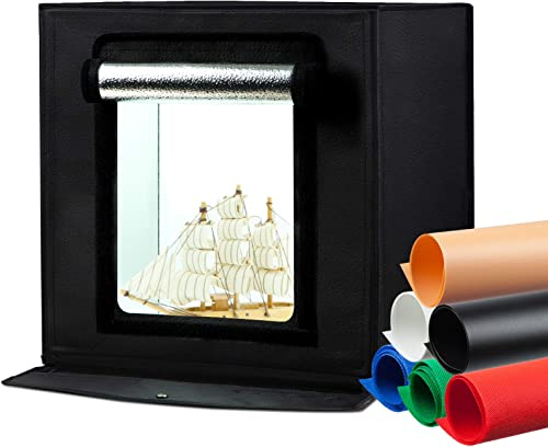 Puluz Photo Lightbox Kit. Professional Tabletop Lightbox w/ 64 LED Lights and 6 Backdrops of Different Colors