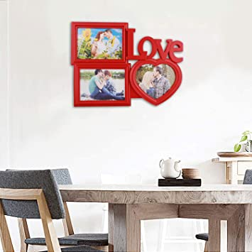 c62ce3903b6 Buy Virom Designer 3 Photo Collage Photo Frame Red Color Creative Picture  Frame with Real Glass Tabletop Display Online at Low Prices in India -  Amazon.in