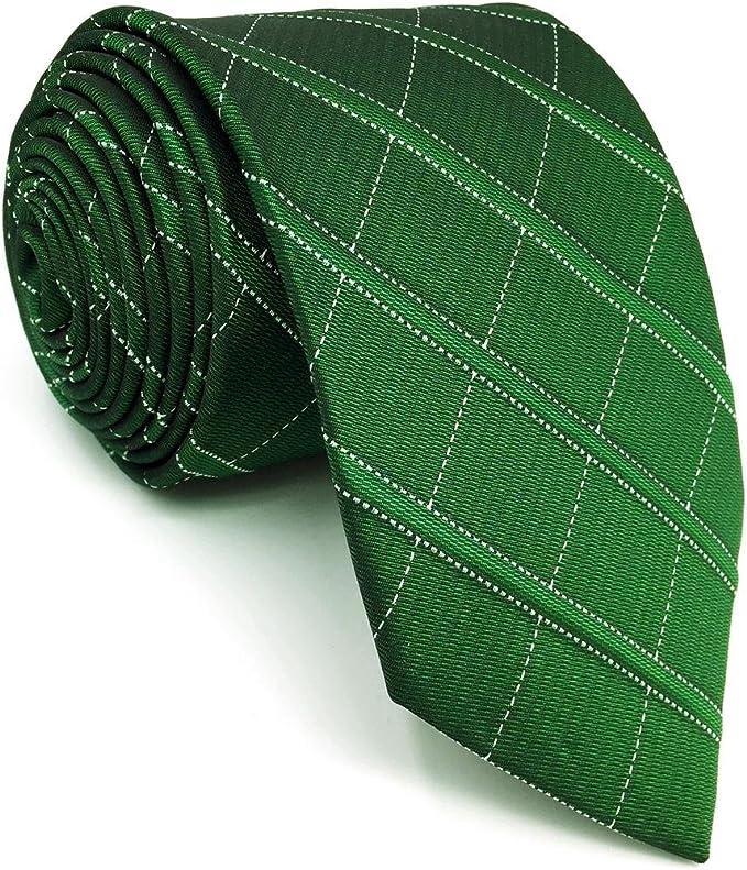 shlax&wing Classic Dark Verde único Checkes Corbatas Para Hombres ...