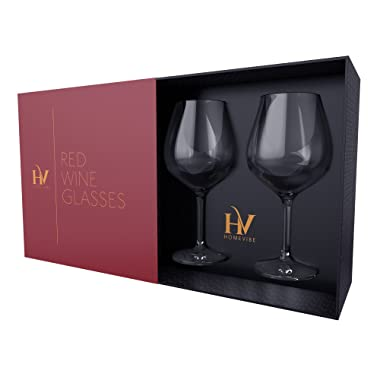 Bohemian Crystal Large Wine Glasses - Set of 2 Red Wine Glasses, 22 Ounce Glass for Cabernet, Bordeaux and Pinot Noir
