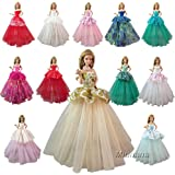 Barwa Random Styles 7 Pcs Handmade Fashion Wedding Party Gown Dresses & Clothes for Barbie Doll Xmas Gift 2018 New Style