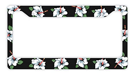 Amazoncom Thiswear Flower License Plate Frame Aloha License Plate