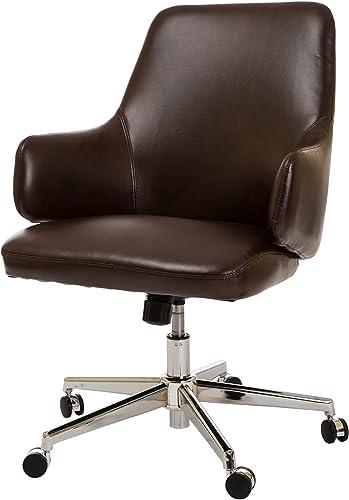 Glitzhome Office Armrest Bonded Leather Swivel Home Desk Chair