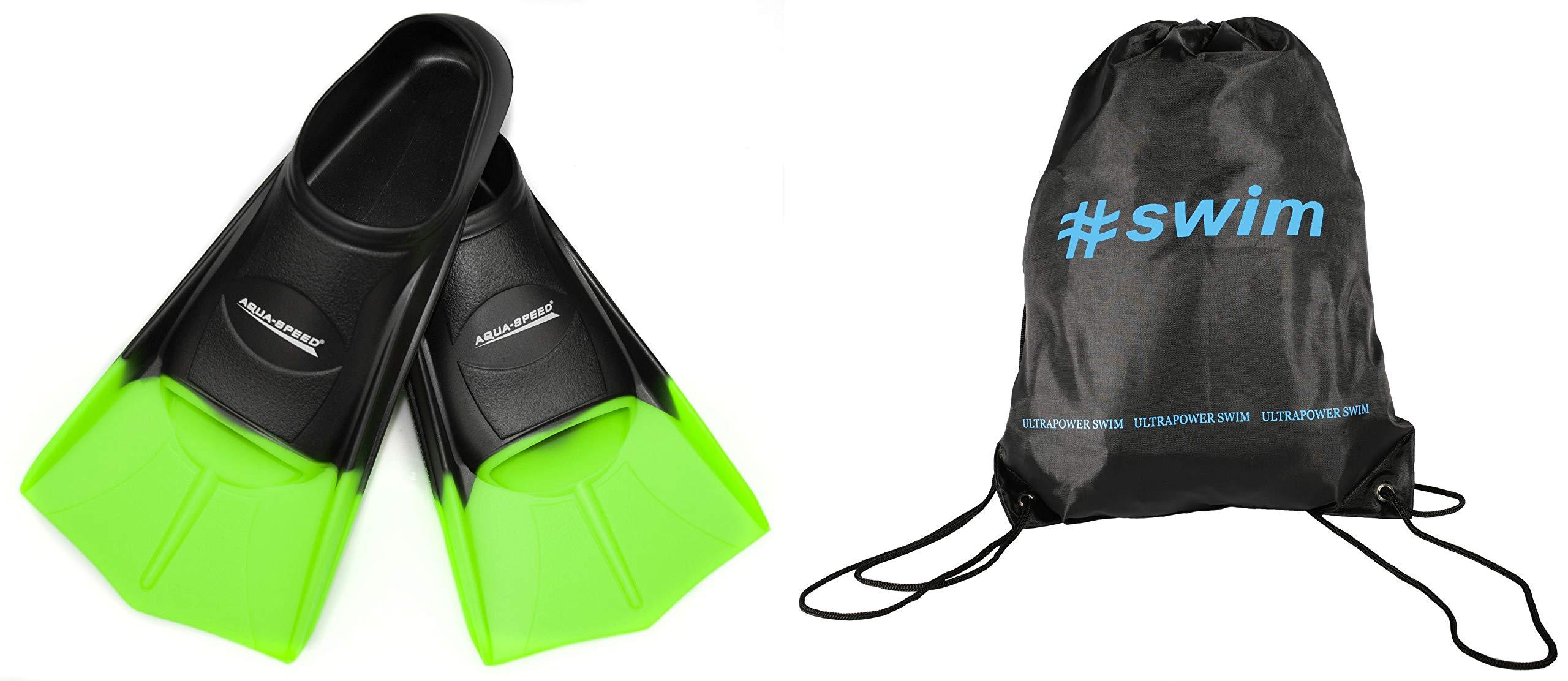 SET - Aqua Speed HIGH TECH Aletas cortas para adultos y niños + ULTRAPOWER® #
