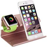 Apple Watch Stand,iPhone 6 Stand,BENTOBEN Charging Stand Dock Station Cradle Nightstand for Apple Watch and iPhone with Cable Winder Detachable Construction Anti Slip Foam Cushion Rose Gold