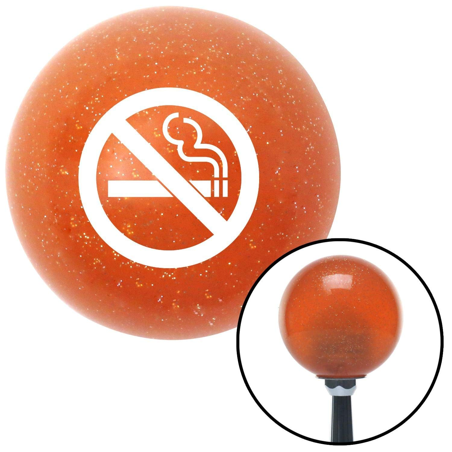 American Shifter 42781 Orange Metal Flake Shift Knob with 16mm x 1.5 Insert White No Smoking