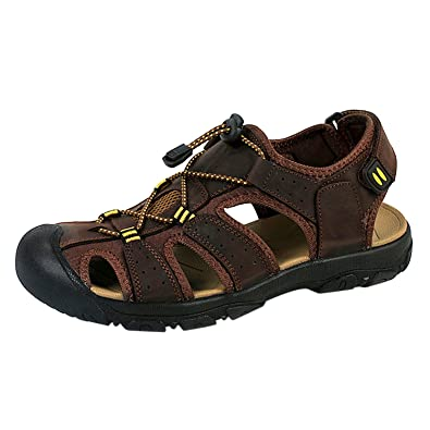 d8046a50bc6b WhiFan Men s Beach Shoes Leather Casuals Close Toe Strap Sports Sandals  Breathable Water Sandal Size 10