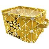 Mziart Small Foldable Canvas Storage Basket Cotton Fabric Mini Portable Storage Bin Nursery Organizer Box for Makeup…