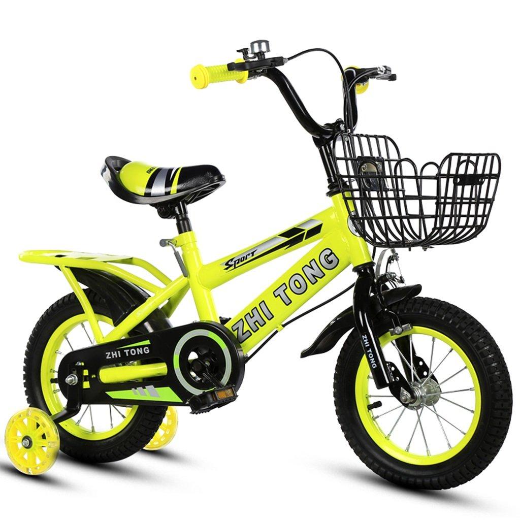 子供用自転車、男の子、女の子に適しています後部座席付きフラッシュアシストホイール高炭素スチール滑り止めタイヤ強力な安全性2-10歳88-121CM (色 : イエロー いえろ゜, サイズ さいず : 88CM) B07CWCXKBN 88CM|イエロー いえろ゜ イエロー いえろ゜ 88CM